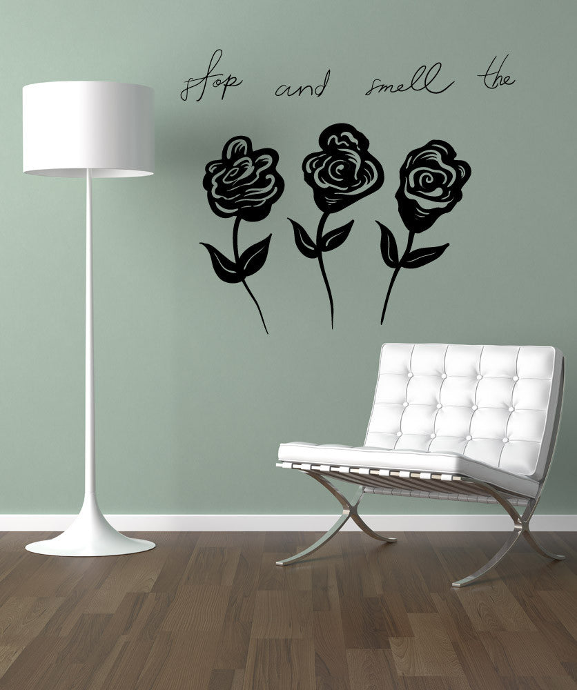 Vinyl Wall Decal Sticker Smell the Roses #OS_MB1145