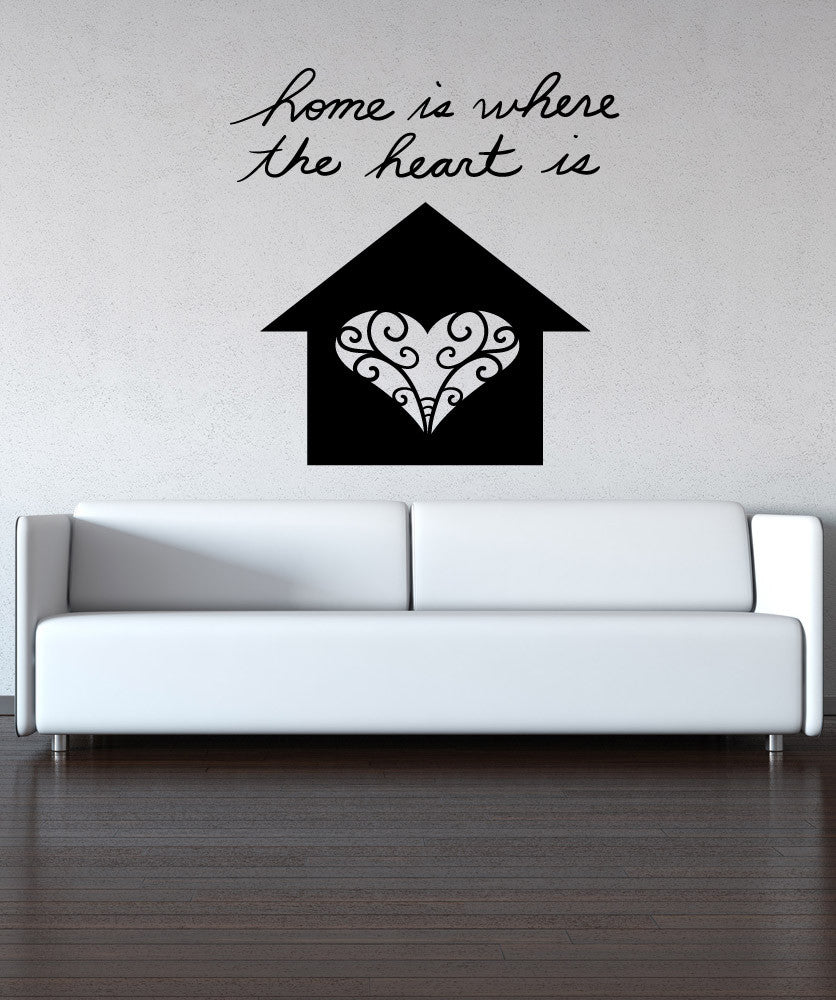 Vinyl Wall Decal Sticker Home is Where the Heart is #OS_MB1162