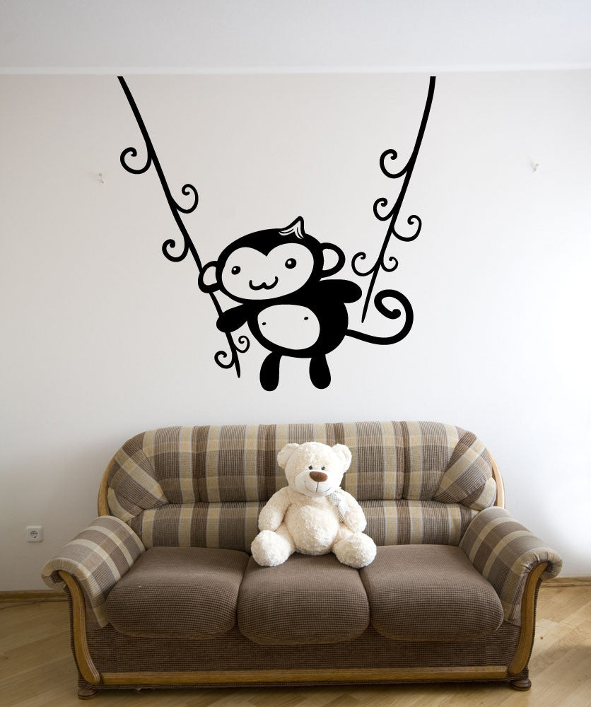 Vinyl Wall Decal Sticker Monkey Swing #OS_MB1201