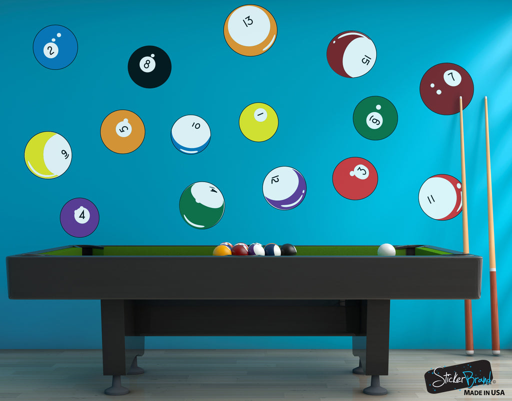 Billiard decals billiard room wall d cor stickerbrand for Pool design graphic