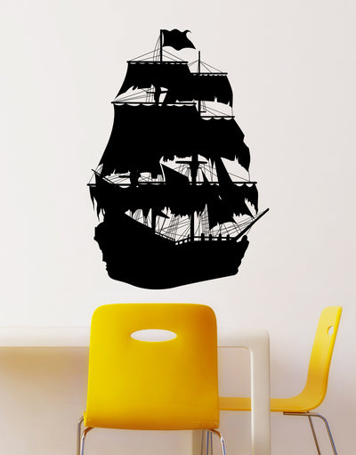 Pirate Ship Vinyl Wall Decal. Silhouette design. OS_MB141