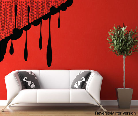 Vinyl Wall Decal Sticker Japanese Waves with Ink Drips #OS_MB276
