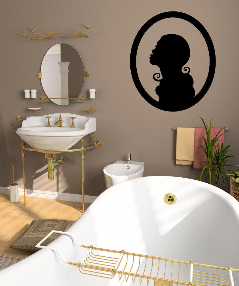 Vinyl Wall Decal Sticker Lady Framed Silhouette #OS_MB297