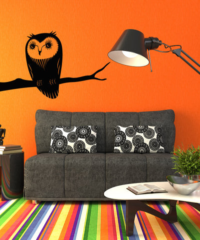 Vinyl Wall Decal Sticker Owl on a Branch #OS_MB306