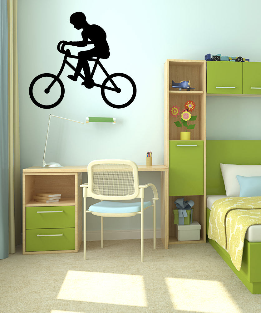 Vinyl Wall Decal Sticker Boy on Bike #OS_MB353