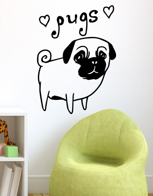 Skip To Content Home Products Catalog Faq Reviews Log In Search Wishlist 0 Menu 0 0 Items 0 00 Check Out Stickerbrand Home Products Catalog Faq Reviews Log In 0 Search Menu Menu Cart 0 Search Close Esc Cute Pug Dog Wall Decal Hearts I
