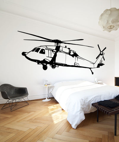 Vinyl Wall Decal Sticker Black Hawk Helicopter #OS_MB600