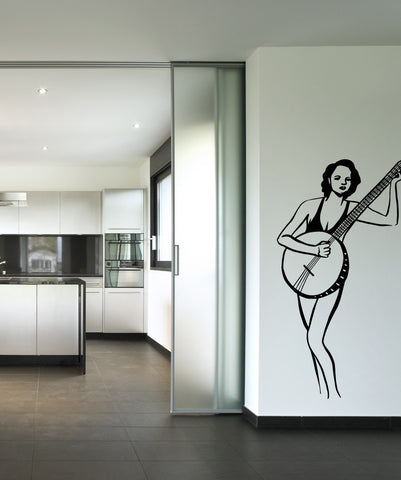 Vinyl Wall Decal Sticker Banjo Lady #OS_MB603