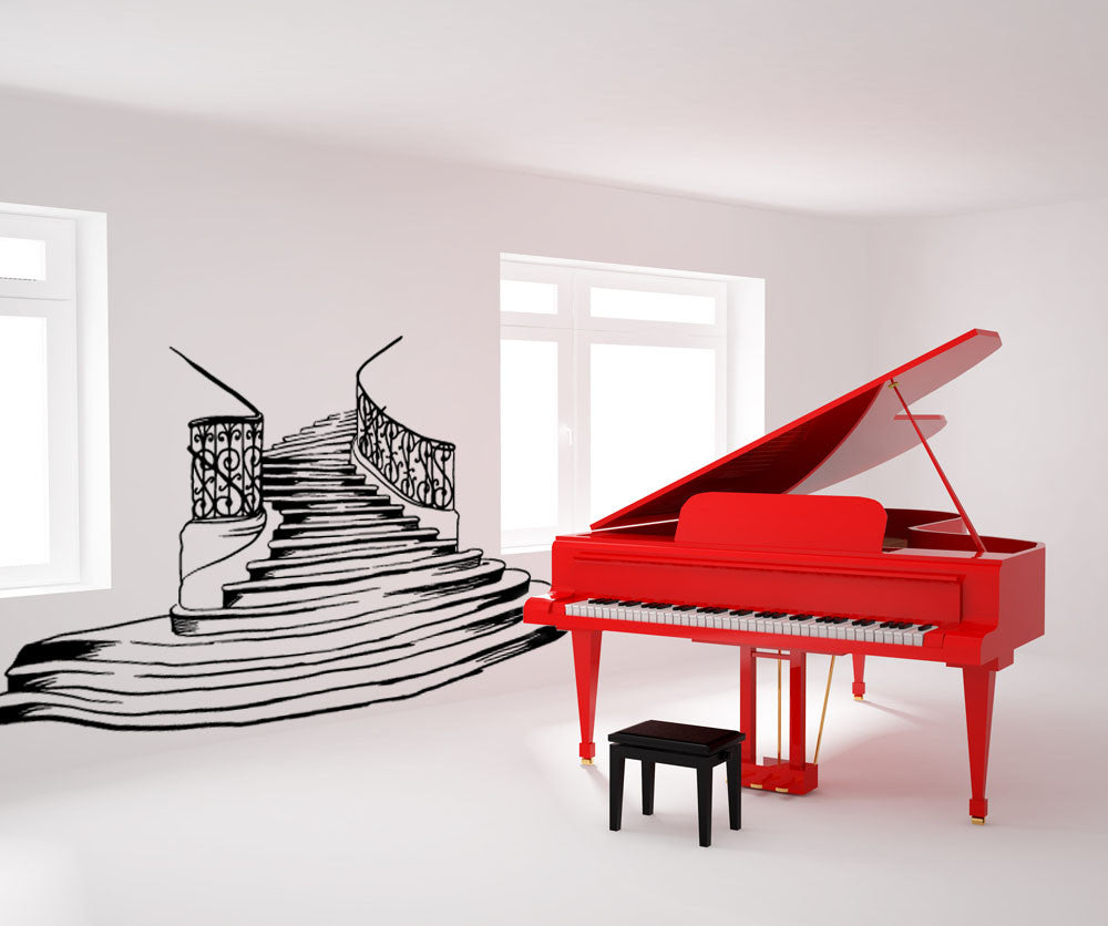vinyl wall decal sticker fancy stairs os mb610. Black Bedroom Furniture Sets. Home Design Ideas