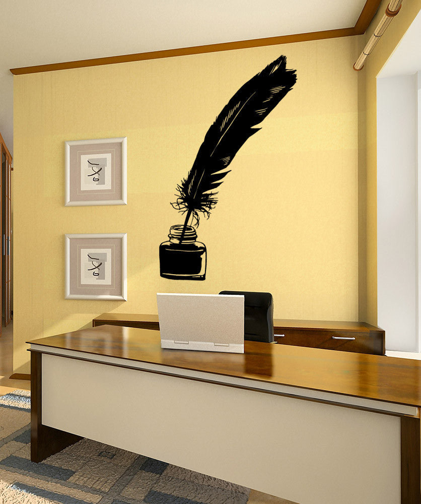 Vinyl Wall Decal Sticker Quill Pen and Ink #OS_MB611