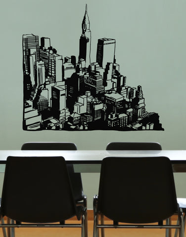 Cityscapes Vinyl Wall Art City View Wall Decal Sticker #OS_MB612