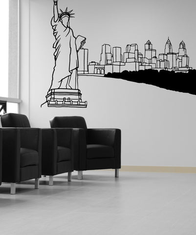 Vinyl Wall Decal Sticker Statue of Liberty Sketch #OS_MB614