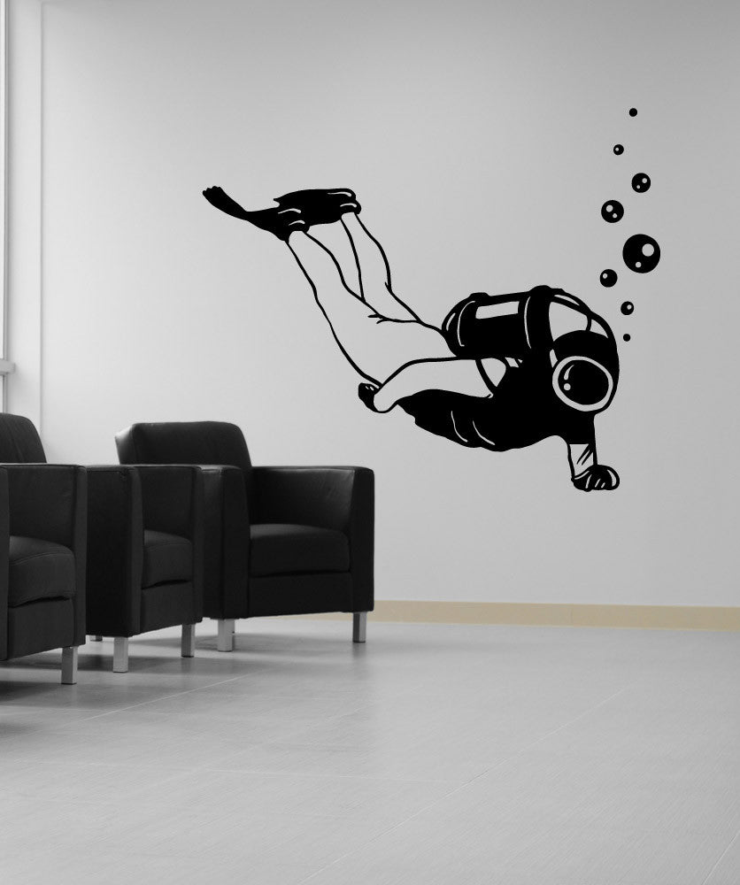 Vinyl Wall Decal Sticker Scuba Diver #OS_MB630