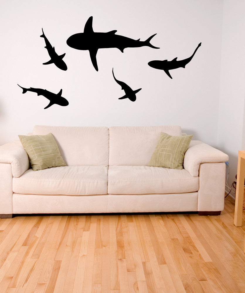Nature wall decals nature stickers for walls stickerbrand vinyl wall decal sticker sharks osmb631 amipublicfo Choice Image