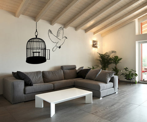 Vinyl Wall Decal Sticker Dove and Birdcage #OS_MB644