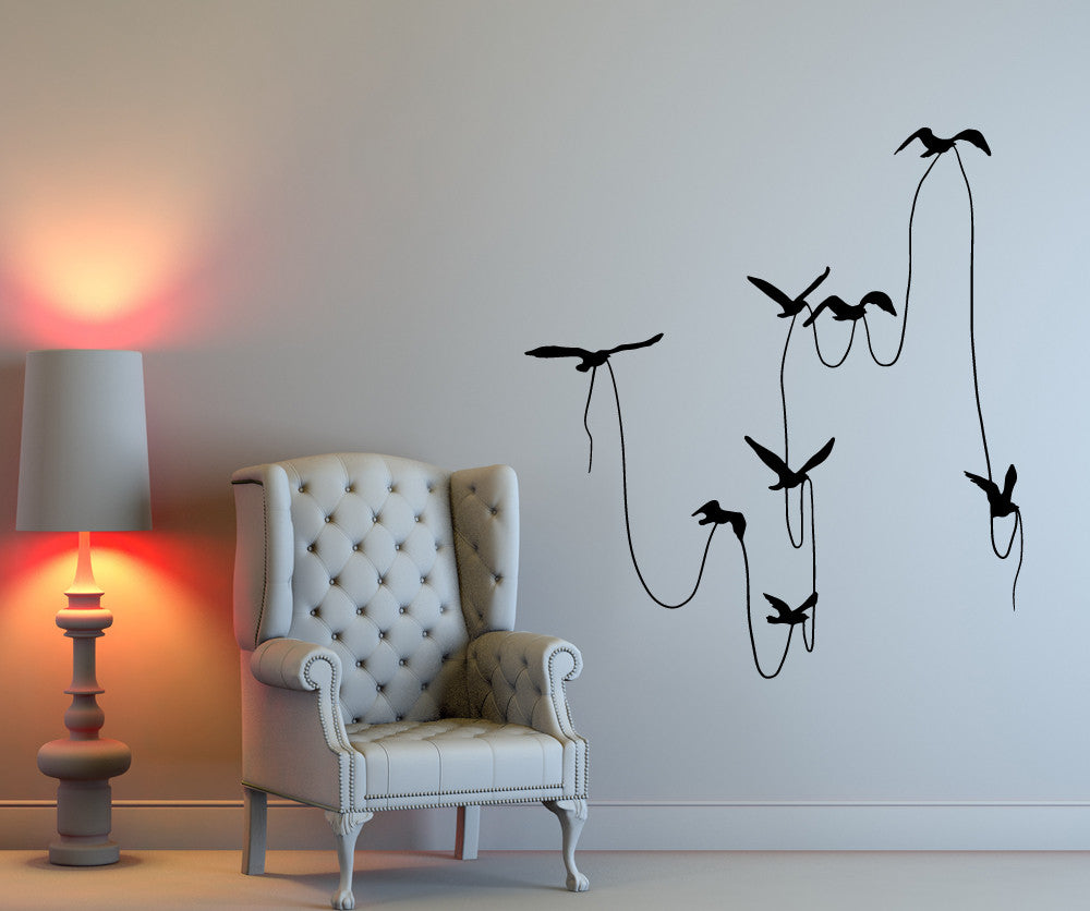 Vinyl wall decal sticker birds with string osmb673 amipublicfo Image collections
