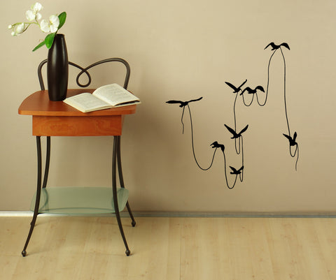 Vinyl Wall Decal Sticker Birds with String #OS_MB673