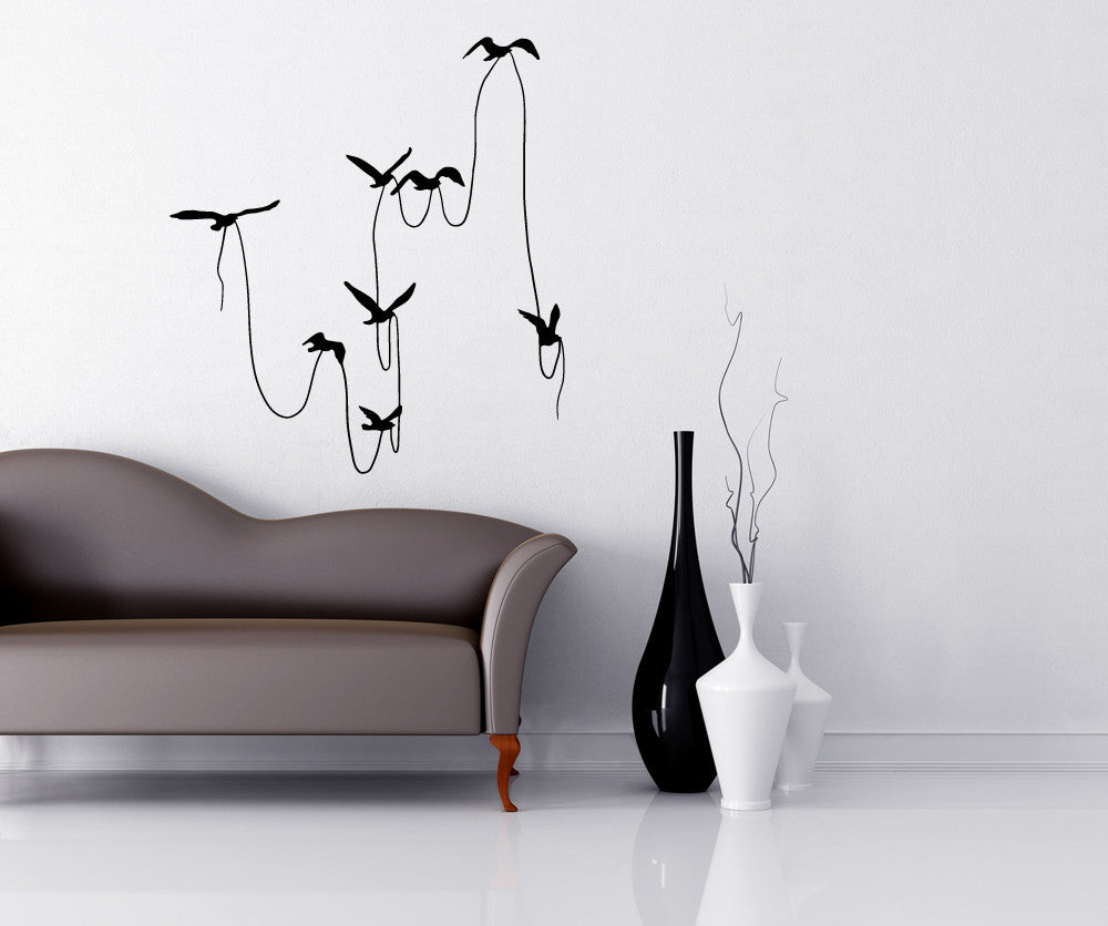 Vinyl Wall Decal Sticker Birds With String OSMB - Wall decals birds