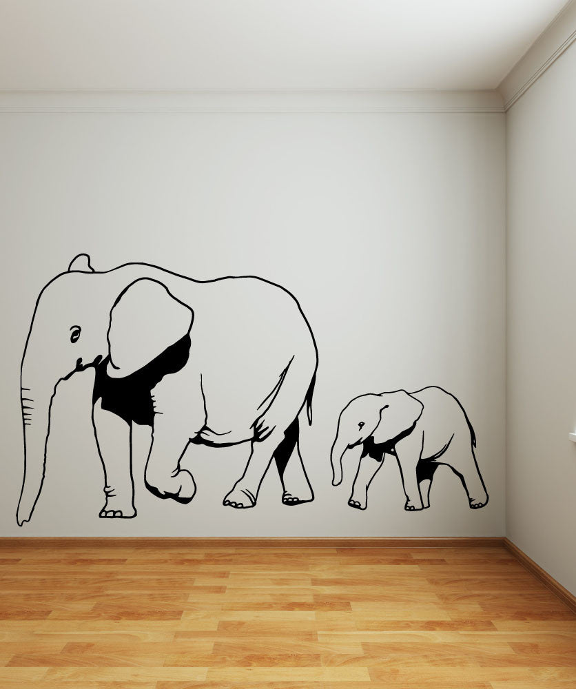 Vinyl Wall Decal Sticker Mom And Baby Elephants Os Mb682