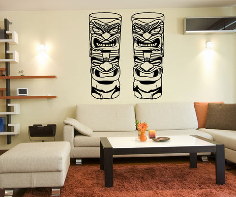 Vinyl Wall Decal Sticker Two Short Totem Poles #OS_MB719