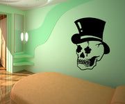 Vinyl Wall Decal Sticker Skull with Top Hat #OS_MB751
