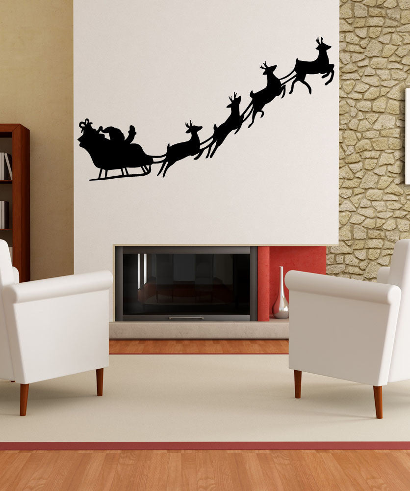 Vinyl Wall Decal Sticker Santa and his Reindeer #OS_MB766