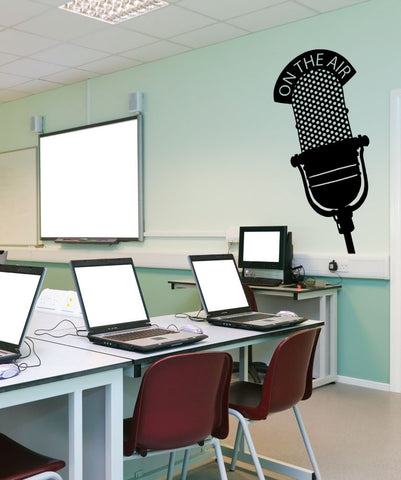 On the Air Microphone Mic Wall Decal. Radio Station #OS_MB809