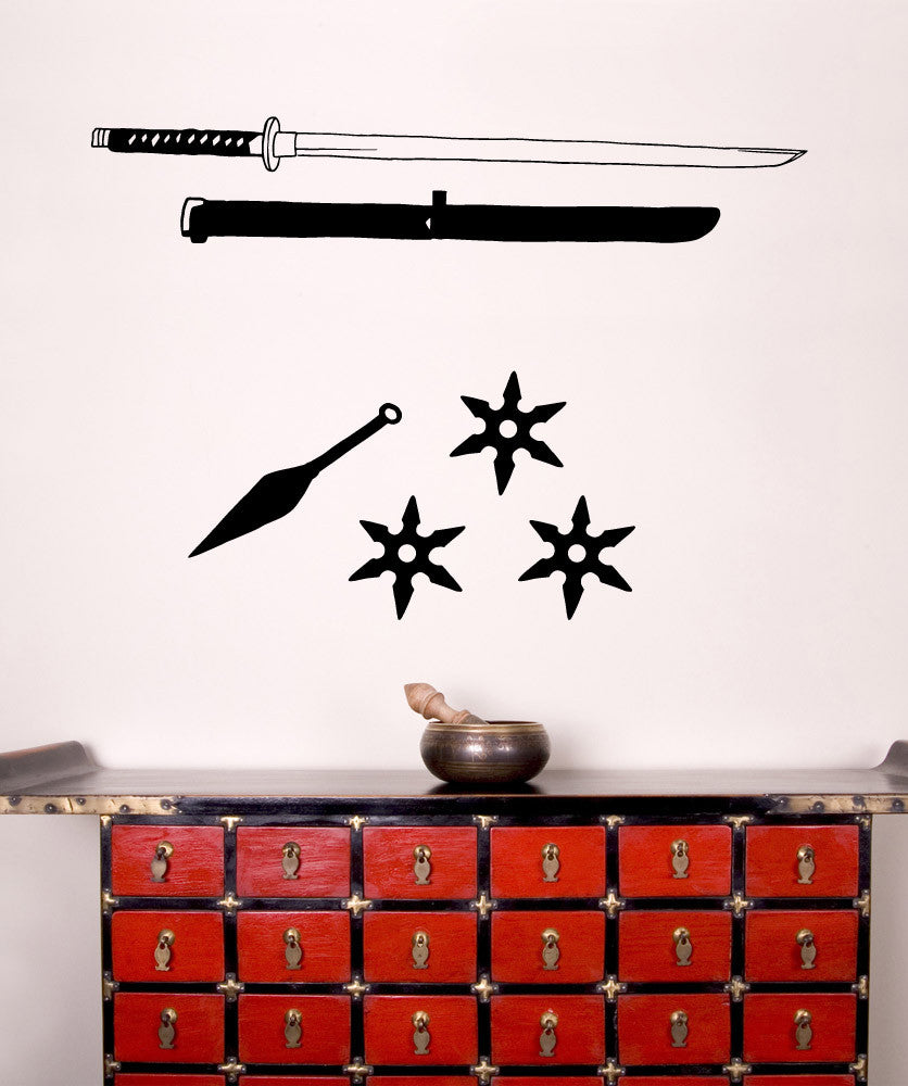 Vinyl Wall Decal Sticker Ninja Weapons #OS_MB856