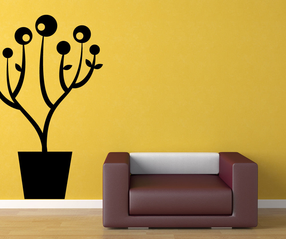 Vinyl Wall Decal Sticker Art Deco Potted Plant #OS_MB880