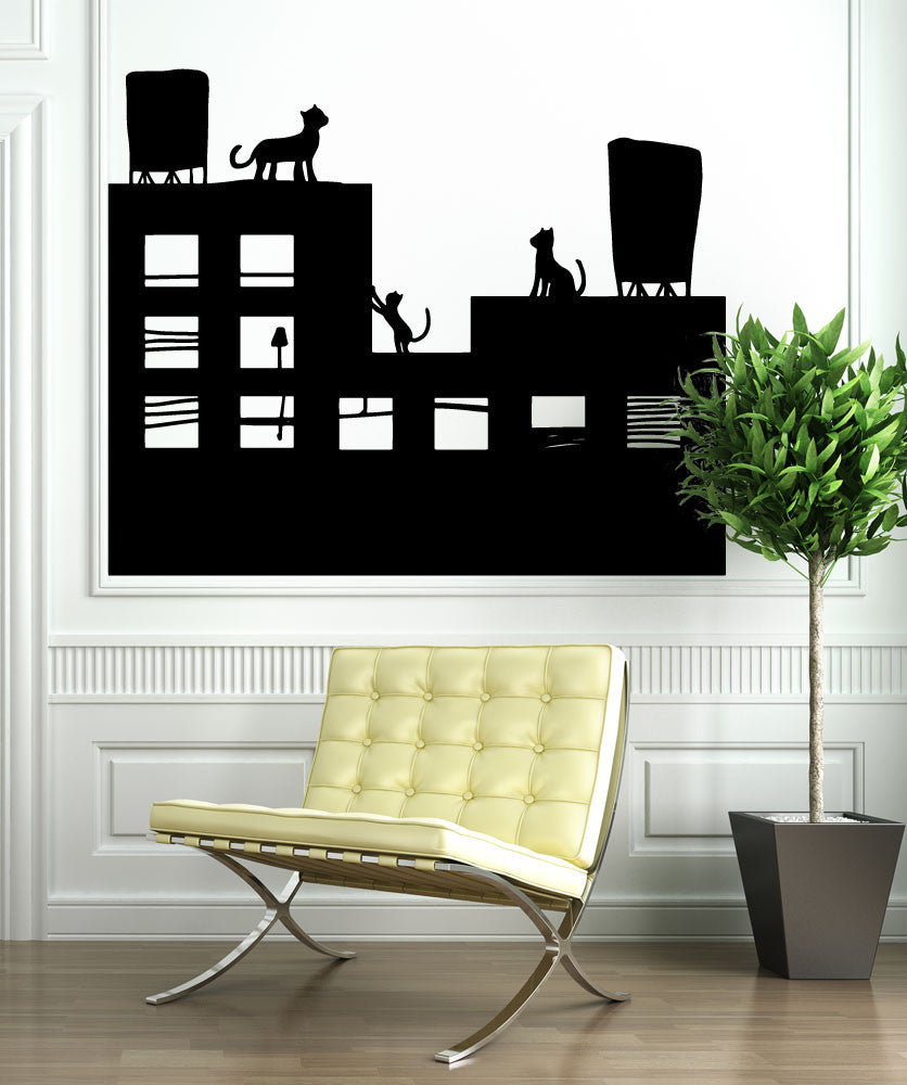 Vinyl Wall Decal Sticker Cats on a Roof #OS_MB896