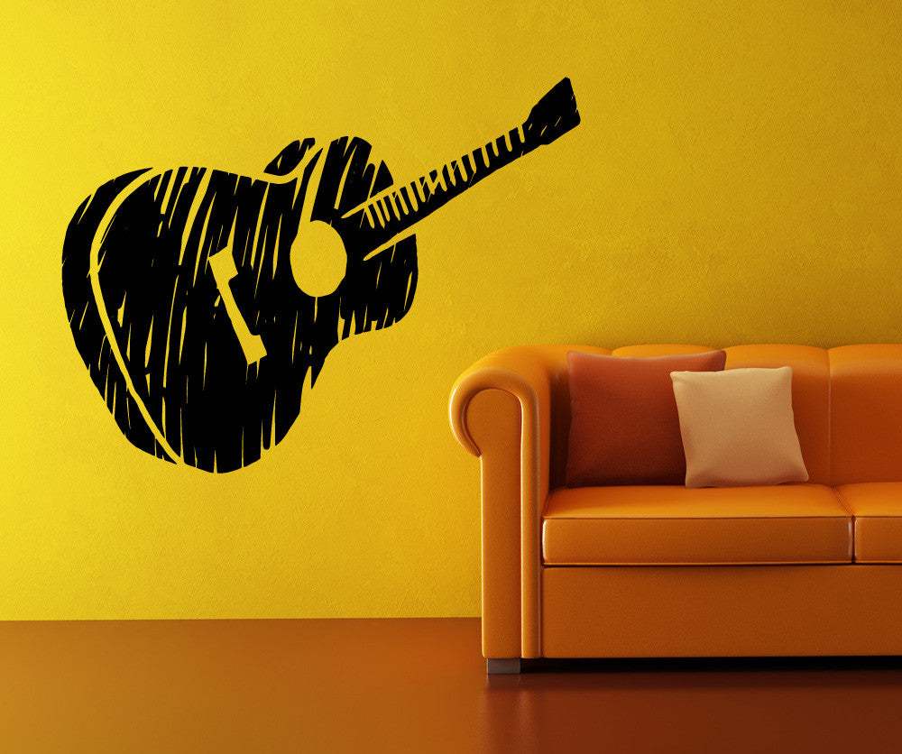 Vinyl Wall Decal Sticker Guitar Sketch OSMB - How to get vinyl decals to stick to textured walls