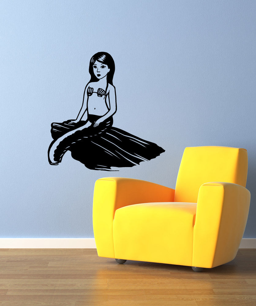 Vinyl Wall Decal Sticker Sitting Mermaid #OS_MB945