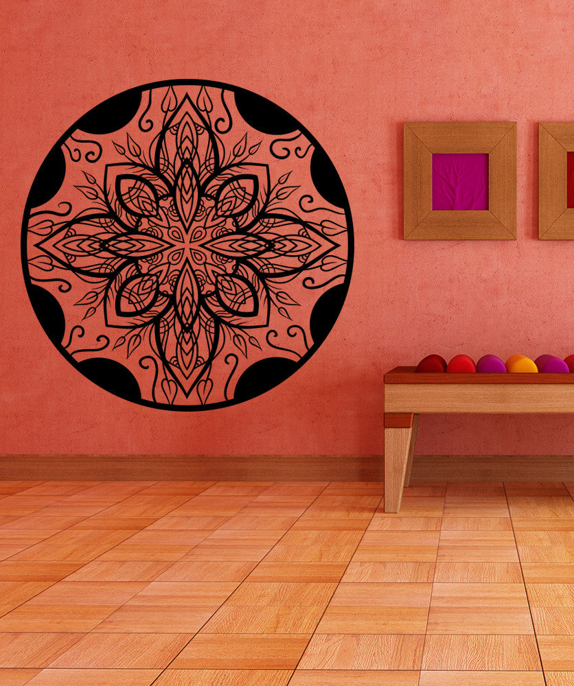Vinyl Wall Decal Sticker Abstract Leaf Circle #OS_MB971