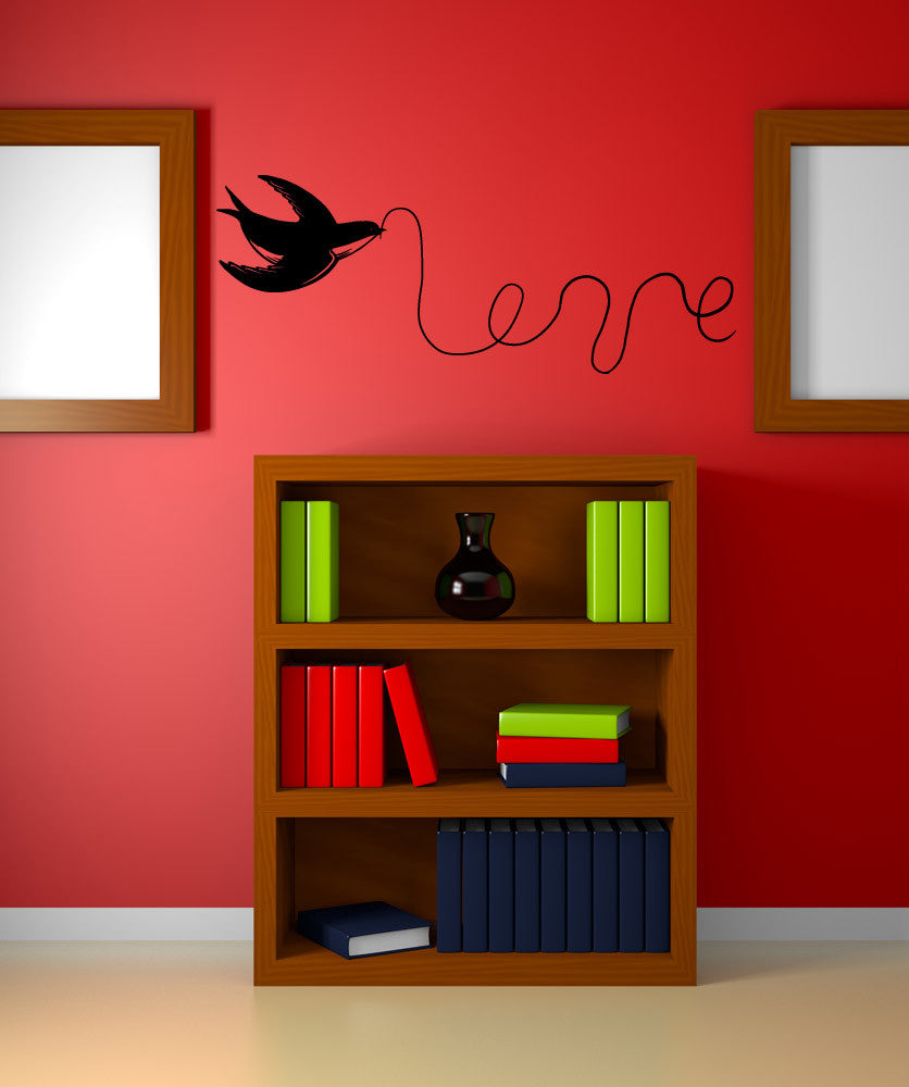 Vinyl Wall Decal Sticker Love Bird with String #OS_MB975