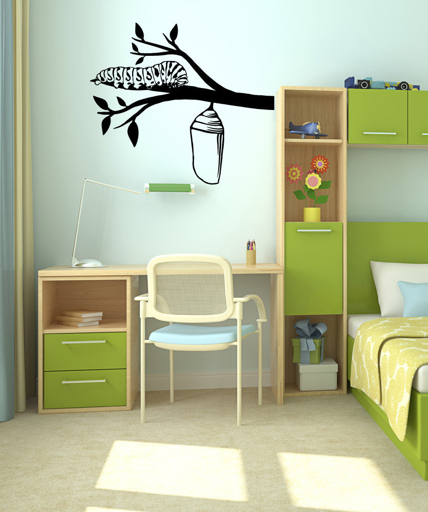 Vinyl Wall Decal Sticker Caterpillar and Cocoon #OS_MB989