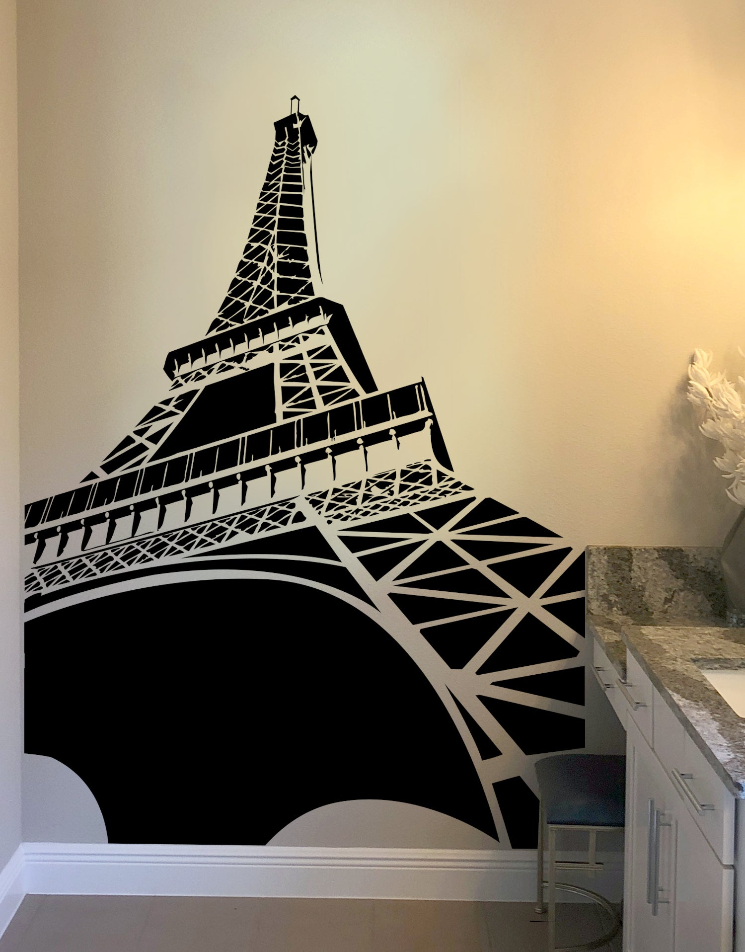 48cd8d39672 Large Eiffel Tower Wall Decal. Paris France Home Decor. Edge to Edge. item