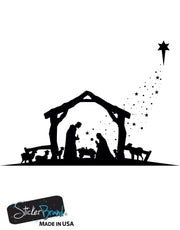 Nativity Scene Christmas Decoration Vinyl Wall Decal Sticker. Item #OS_MG105