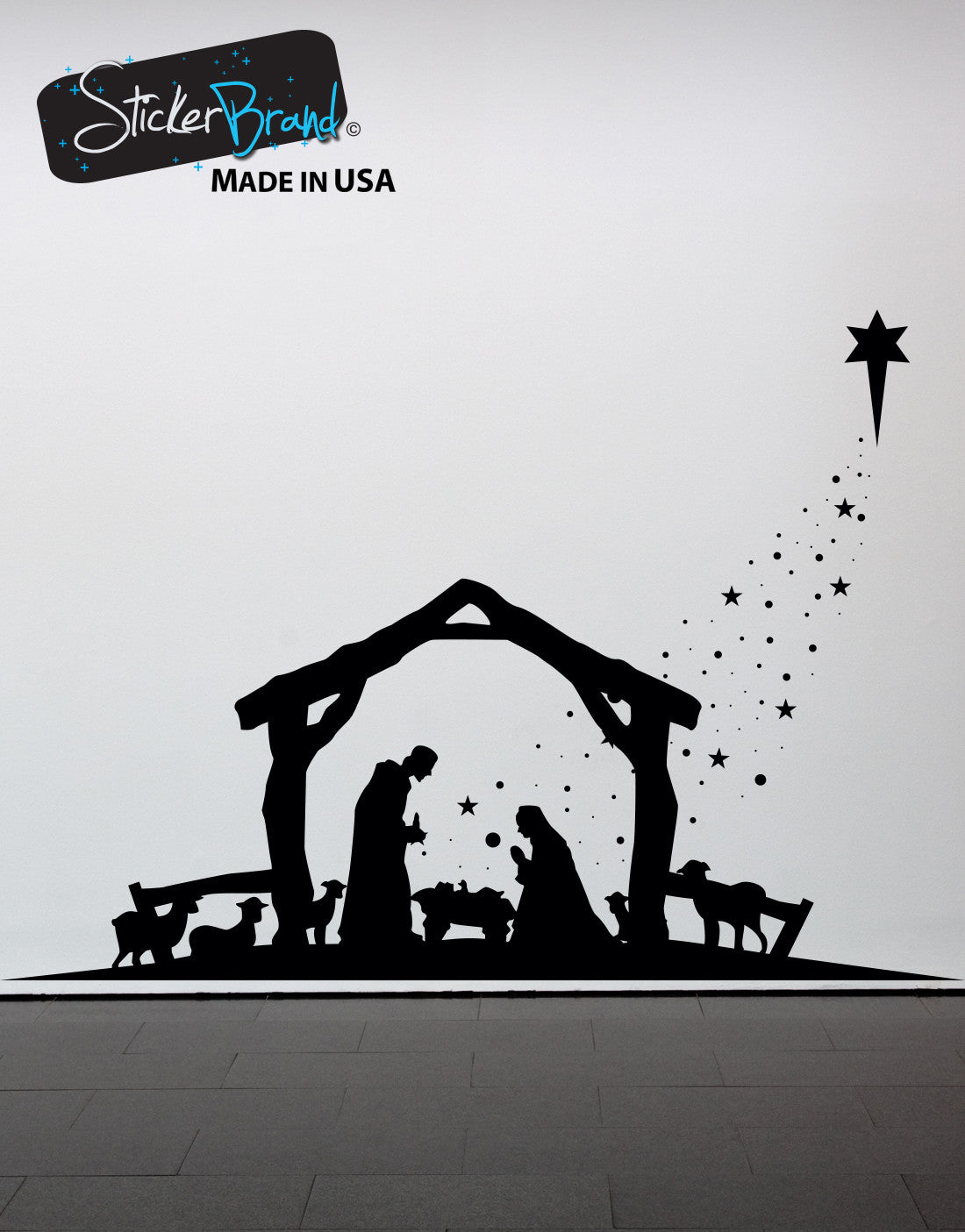 Vinyl Wall Decal Sticker Nativity Item #OS_MG105