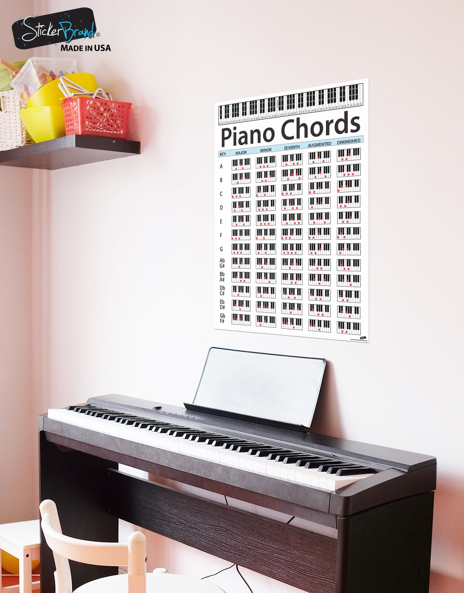 Piano Chord Chart Poster Educational Handy Guide Print For Keyboard Music Lessons P1001