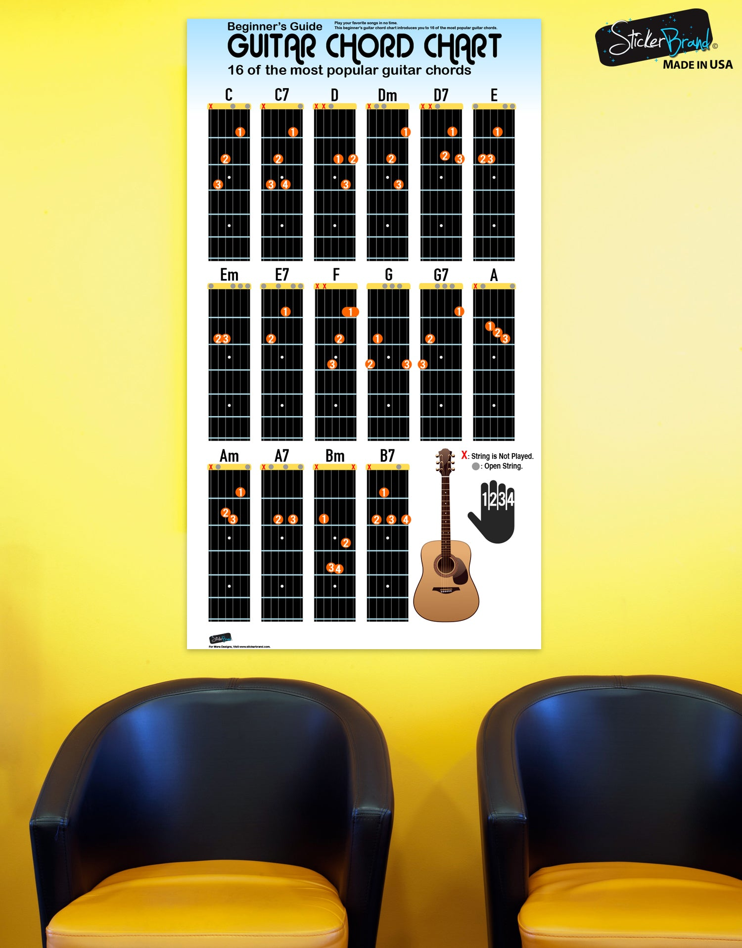 Guitar Chord Chart Poster 16 Popular Chords Guide Perfect For Studen A7 Students And Teachers P1003