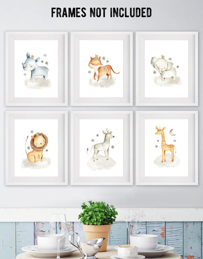 Nursery Safari Animal Posters (set of 6) Prints. Baby Elephant, Giraffe, Hippo, Lion, Tiger and Zebra #P1005