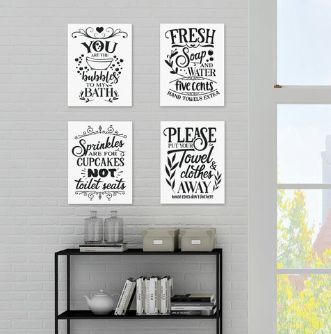 Funny Bathroom Quote Posters (set of 4) Prints. #P1013