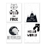 Cute Nursery Room Poster Quotes. Be Fearless. Wild and Free. Dream Big Little One. Hello World. #P1015