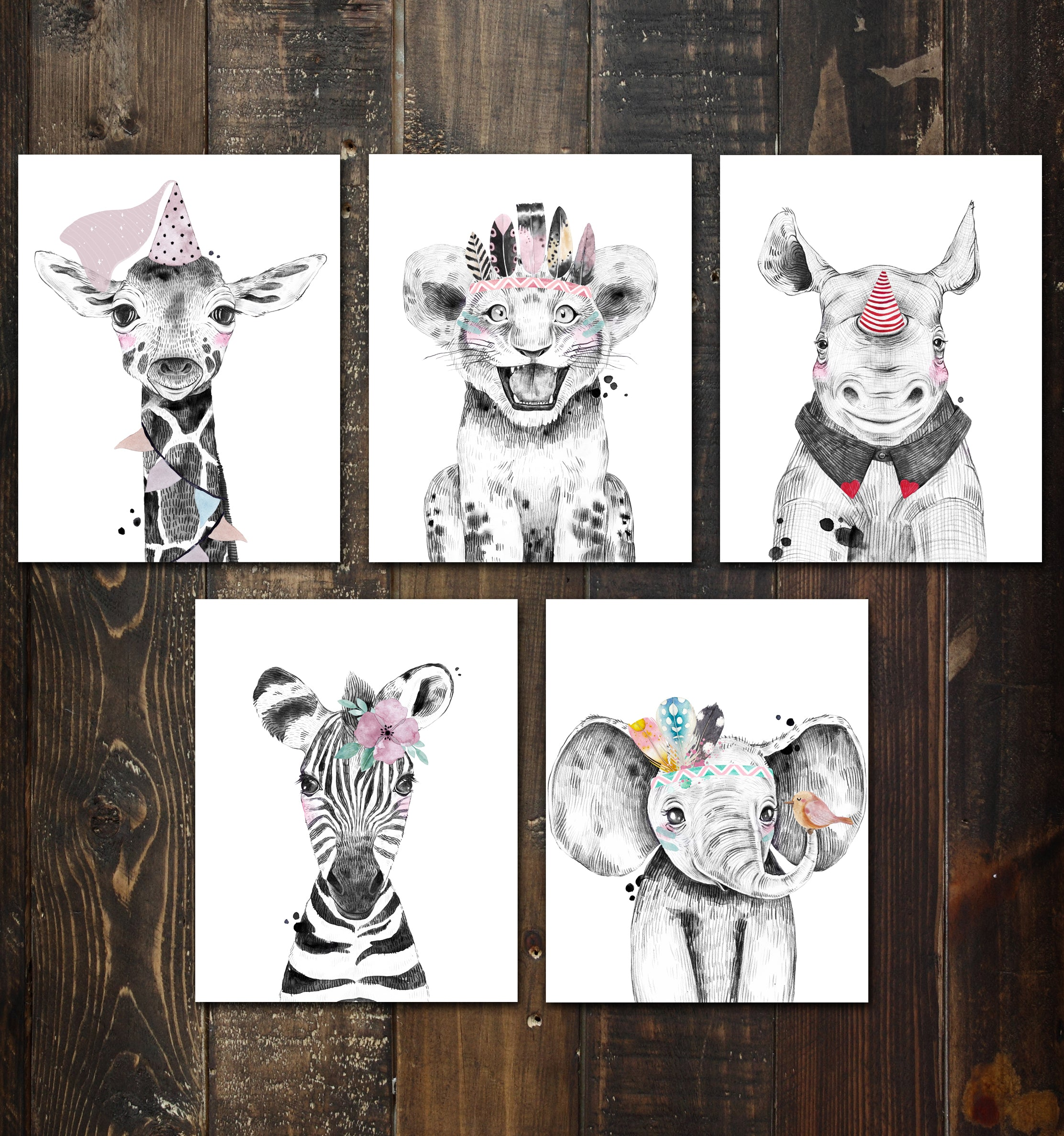 Nursery Safari Baby Animal Posters (set of 5) Prints. Unframed. Great gifts for Baby shower, Kids Bedroom or Bathroom Decor. Baby Elephant, Giraffe, Rhino, Lion and Zebra #P1022