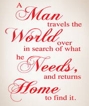Vinyl Wall Lettering Decal A Man Travels Home #P105