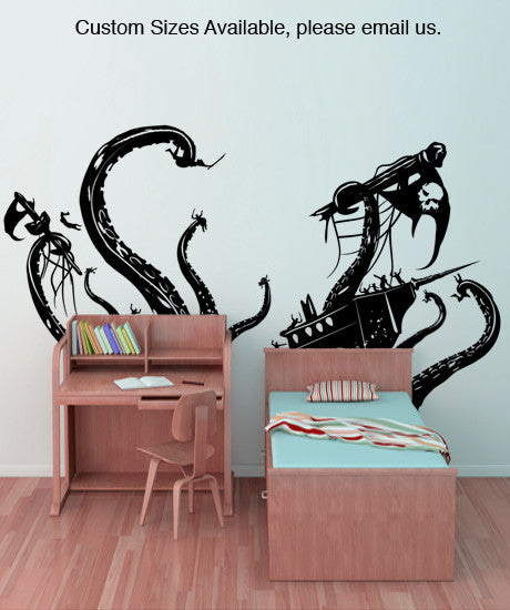 Pirate Ships attacked by Kracken Wall Decal #GFoster166