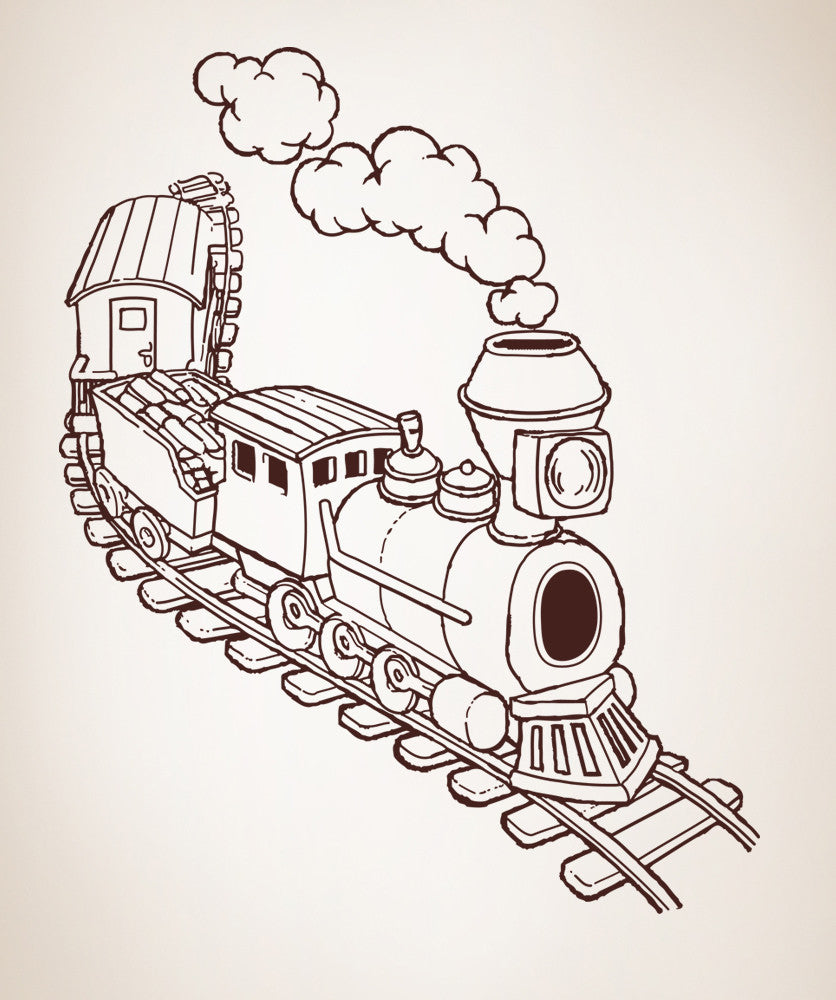 Vinyl Wall Decal Sticker Illustrated Train Os Aa217