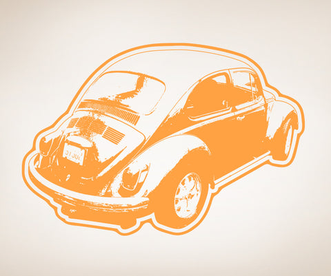 Vinyl Wall Decal Sticker 70's VW Beetle #OS_AA157