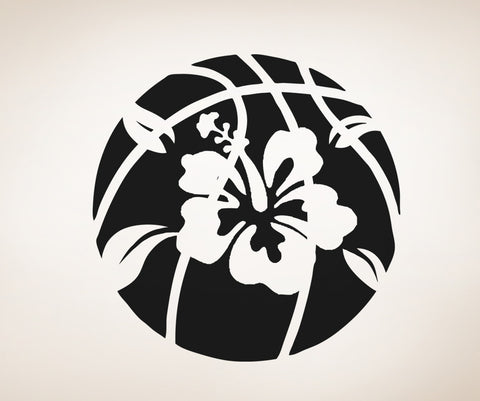 Vinyl Wall Decal Sticker Basketball with Hibiscus #OS_AA513