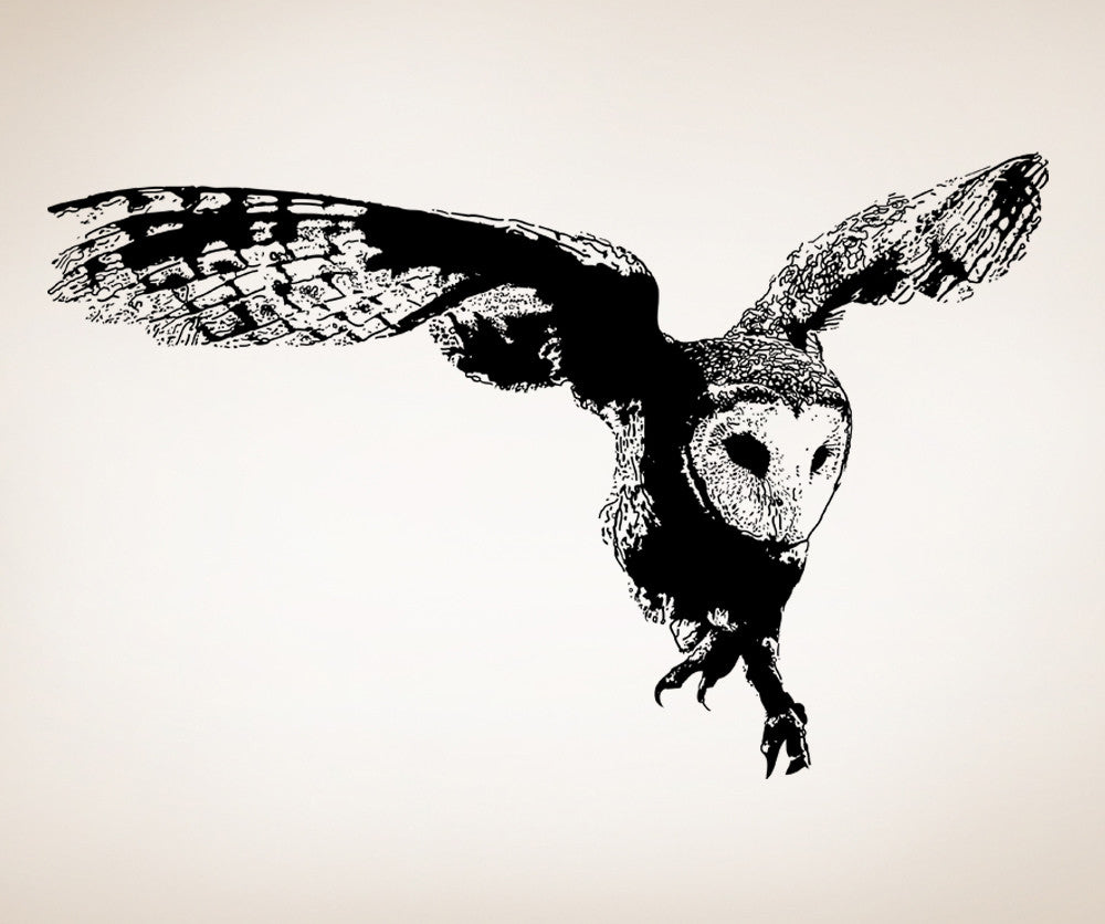 Vinyl wall decal sticker australian owl flying osaa496 amipublicfo Image collections